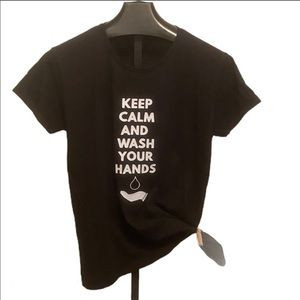 Wash hands funny graphic tee size XL